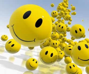 Bouncing Yellow Happy Smiley Face Balls Image