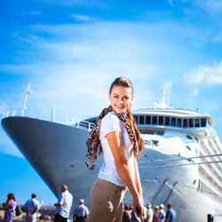 Crew Member Sarah Poses before Reboarding Cruise Ship