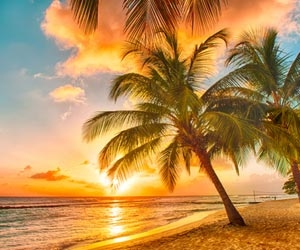 Sunset on a deserted tropical beach