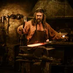 Blacksmiths Utilize Ancient Methods of Forging to Craft Various Items