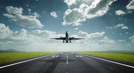 Commercial Airplane Taking Off Photo Button